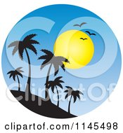 Clipart Of A Circle Scene Of Gulls And A Sun Over Silhouetted Island Palm Trees Royalty Free Vector Illustration