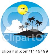 Clipart Of A Circle Scene Of Gulls And A Sun Over A Silhouetted Tropical Island Royalty Free Vector Illustration