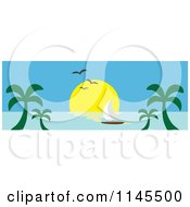 Clipart Of A Hawaian Ocean Sunset Website Banner With Palm Trees And A Sailboat 3 Royalty Free Vector Illustration by Rosie Piter