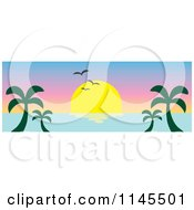 Clipart Of A Hawaiian Ocean Sunset Website Banner With Palm Trees And Seagulls 3 Royalty Free Vector Illustration
