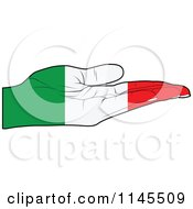 Clipart Of An Italian Flag Hand With Its Palm Facing Up Royalty Free Vector Illustration by Andrei Marincas