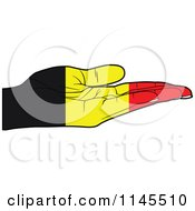 Clipart Of A Belgium Flag Hand With Its Palm Facing Up Royalty Free Vector Illustration by Andrei Marincas