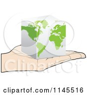 Clipart Of A Hand Holding A 3d Cube Map In Its Palm Royalty Free Vector Illustration by Andrei Marincas