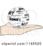Clipart Of A Hand Holding A Money Globe In Its Palm Royalty Free Vector Illustration