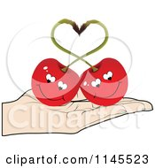 Clipart Of A Hand Holding A Cherry Couple In Its Palm Royalty Free Vector Illustration by Andrei Marincas