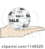 Clipart Of A Hand Holding A Sale Globe In Its Palm Royalty Free Vector Illustration by Andrei Marincas