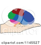 Clipart Of A Hand Holding A Brain In Its Palm Royalty Free Vector Illustration