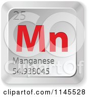 Clipart Of A 3d Red And Silver Manganese Element Keyboard Button Royalty Free Vector Illustration