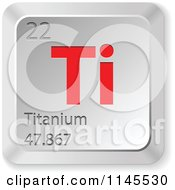 Clipart Of A 3d Red And Silver Titanium Element Keyboard Button Royalty Free Vector Illustration
