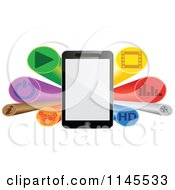 Clipart Of A 3d Tablet And Button Burst Banner Royalty Free Vector Illustration