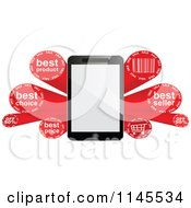 Clipart Of A 3d Tablet And Red Sales Burst Banner Royalty Free Vector Illustration by Andrei Marincas
