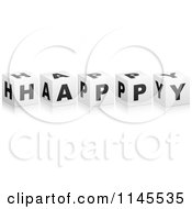 Clipart Of 3d Black And White Happy Cubes And Reflections Royalty Free Vector Illustration by Andrei Marincas