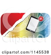 Clipart Of A Tablet Over A Burst On A Retail Sales Discount Banner Royalty Free Vector Illustration by Andrei Marincas