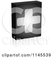 Clipart Of A Grayscale Pixelated Help Box With A Cross And Reflection Royalty Free Vector Illustration by Andrei Marincas