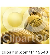 Clipart Of 3d Golden Mechanical Gear Cogs Royalty Free CGI Illustration