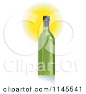 Clipart Of A Green Wine Bottle And Glowing Light Royalty Free Vector Illustration by patrimonio