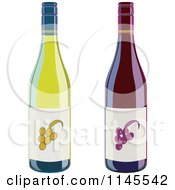 Clipart Of Red And White Green Wine Bottles Royalty Free Vector Illustration by patrimonio
