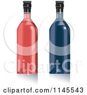 Clipart Of Red And Blue Wine Bottles Royalty Free Vector Illustration by patrimonio