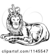 Clipart Of A Retro Black And White King Lion Royalty Free Vector Illustration
