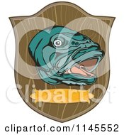 Clipart Of A Mounted Large Mouth Bass Fish On A Plaque Royalty Free Vector Illustration