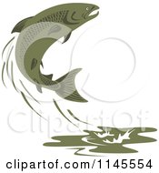 Clipart Of A Leaping Green Salmon Fish Royalty Free Vector Illustration