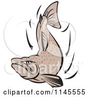Clipart Of A Mad Salmon Fish Royalty Free Vector Illustration