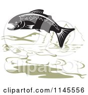 Clipart Of A Jumping Black And White Salmon And Green Mountainous Lake Royalty Free Vector Illustration
