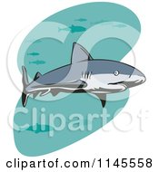 Clipart Of A Shark Swimming With Fish 2 Royalty Free Vector Illustration by patrimonio