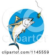 Clipart Of An Albacore Tuna Fish Chasing A Lure 2 Royalty Free Vector Illustration