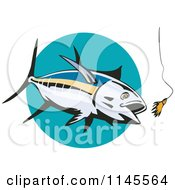Clipart Of An Albacore Tuna Fish Chasing A Lure 1 Royalty Free Vector Illustration