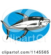Clipart Of A Black And White Retro Yellowfin Tuna Fish Over Blue Royalty Free Vector Illustration by patrimonio