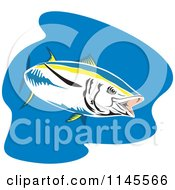 Clipart Of A Yellowfin Tuna Fish Over Blue Royalty Free Vector Illustration by patrimonio