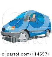 Clipart Of A Man Driving A Blue Van Royalty Free Vector Illustration by patrimonio