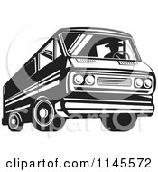 Retro Silhouetted Man Driving A Black And White Van