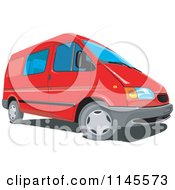 Clipart Of A Red Minivan Royalty Free Vector Illustration