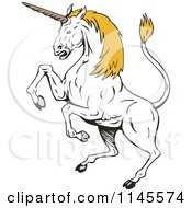 Clipart Of A Rearing White Unicorn With Yellow Hair Royalty Free Vector Illustration