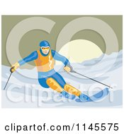 Clipart Of A Skier Going Downhill Royalty Free Vector Illustration by patrimonio