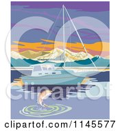 Clipart Of A Fish Leaping By A Sailbot At Sunset Royalty Free Vector Illustration