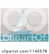 Clipart Of A Sailboat In A Storm Royalty Free Vector Illustration by patrimonio