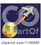 Clipart Of A Fighter Jet In Outer Space Royalty Free Vector Illustration
