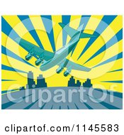 Clipart Of A Flying Commercial Airplane Over A City And Rays Royalty Free Vector Illustration