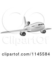 Flying White Commercial Airplane 2