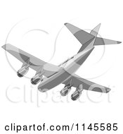 Flying White Commercial Airplane 3