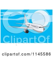 Clipart Of A Flying White Commercial Airplane In A Blue Sky Royalty Free Vector Illustration by patrimonio