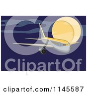 Flying White Commercial Airplane In A Night Sky