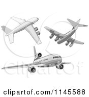 Clipart Of Flying White Commercial Airplanes Royalty Free Vector Illustration by patrimonio