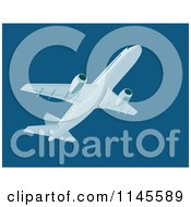 Clipart Of A Flying White Commercial Airplane In A Dark Blue Sky Royalty Free Vector Illustration by patrimonio