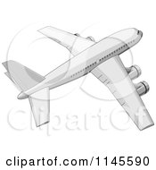 Clipart Of A Flying White Commercial Airplane Royalty Free Vector Illustration by patrimonio