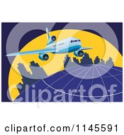 Clipart Of A Flying Commercial Airplane Over An Urban Globe Royalty Free Vector Illustration by patrimonio