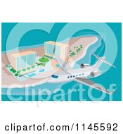 Clipart Of A Plane Flying Over Island Beach Resort Hotels Royalty Free Vector Illustration